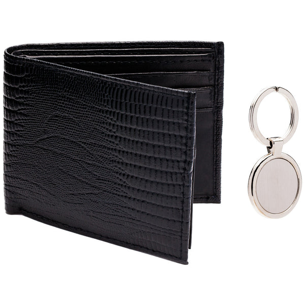 Pair Point Lizard Embossed Black Leather Wallet And Keychain Set - Citi Trends Mens - Front