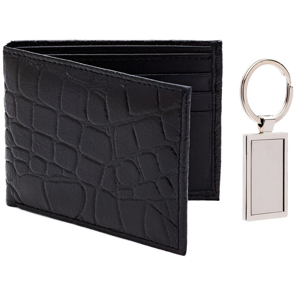 Pair Point Croc Embossed Black Leather Wallet And Keychain Set