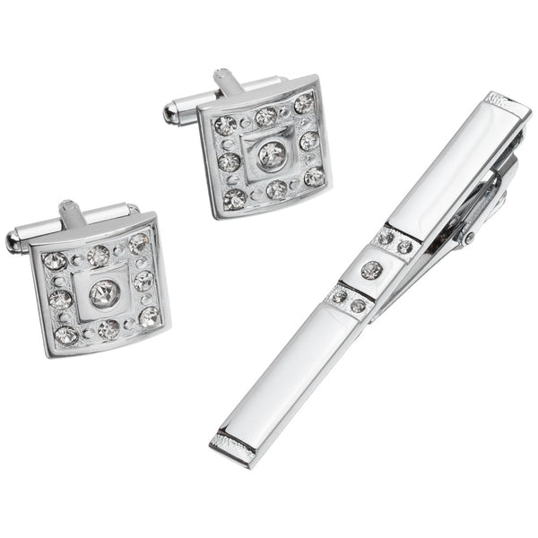 Sleek Impression Silver Square Cufflinks And Tie Clip Set