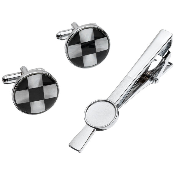 Sleek Impression Silver Circle Cufflinks And Tie Clip Set - Citi Trends Mens - Front