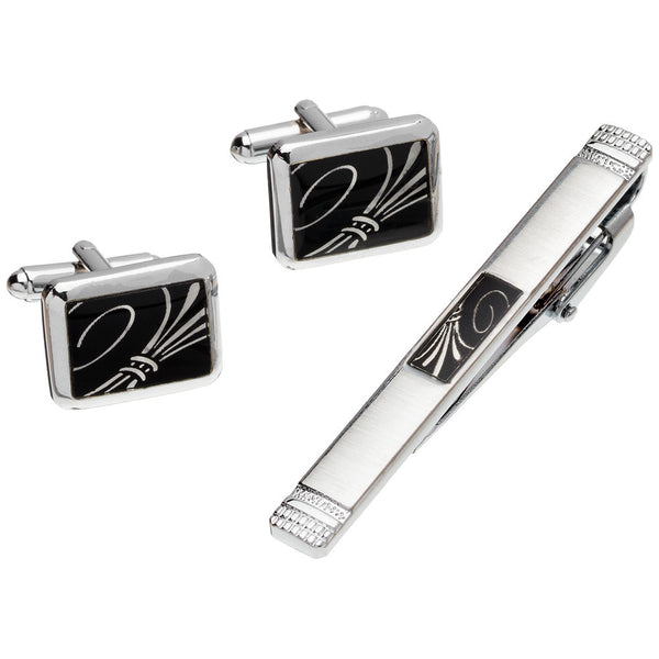 Sleek Impression Silver Rectangle Cufflinks And Tie Clip Set - Citi Trends Mens - Front