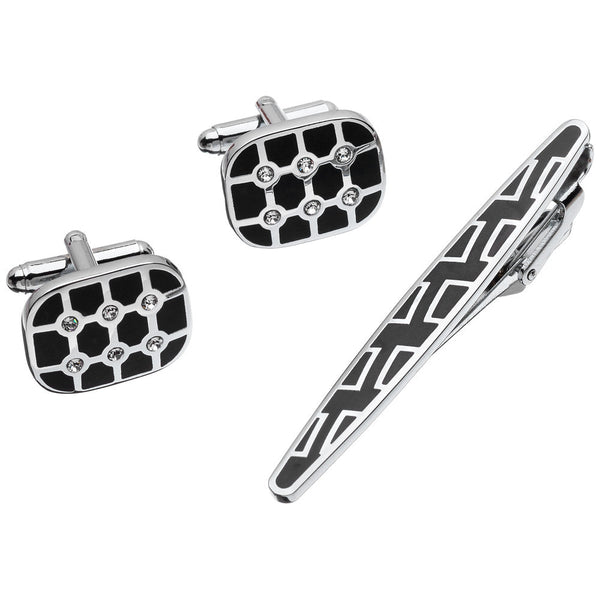 Sleek Impression Silver Oval Cufflinks And Tie Clip Set - Citi Trends Mens - Front