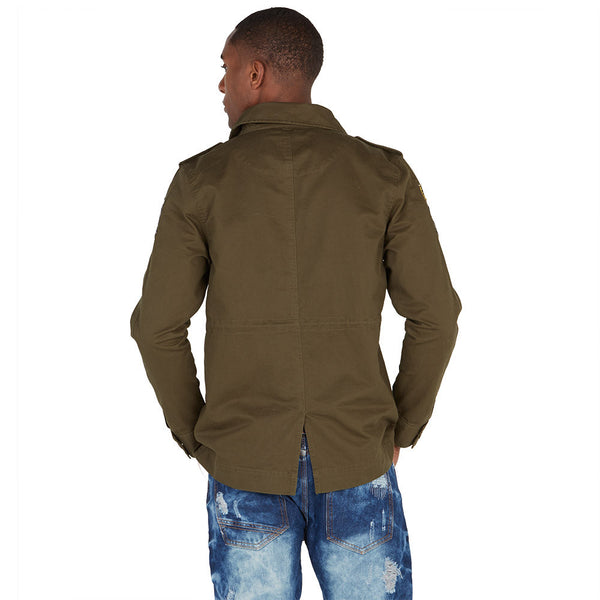 In Command Olive Patchwork Military Jacket - Citi Trends Mens - Back