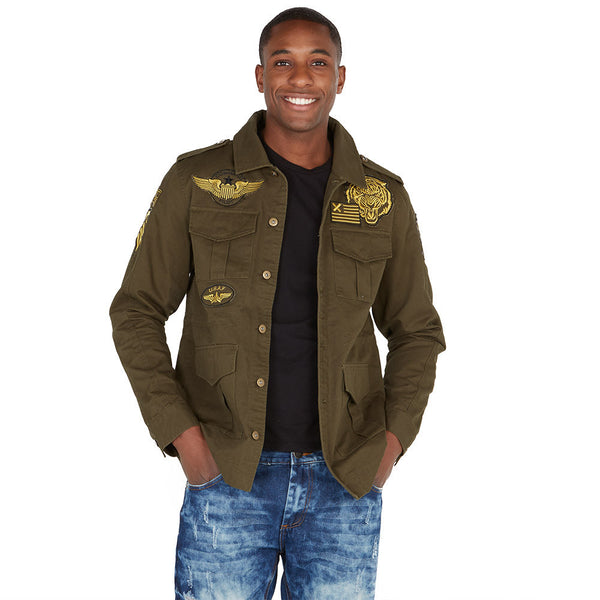 In Command Olive Patchwork Military Jacket - Citi Trends Mens - Front