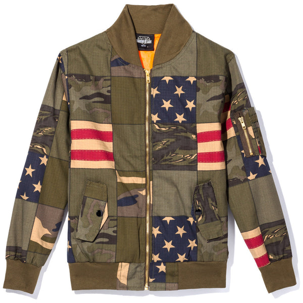 Blend In To Stand Out Boys Camo Americana Bomber Jacket - Citi Trends Boys - Front