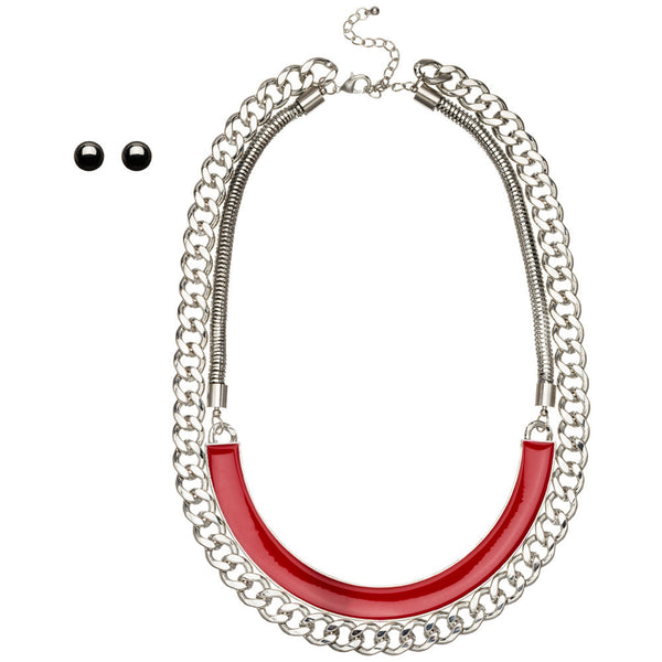 Sleek Standards Silver/Red Enamel Necklace And Earring Set - Citi Trends Accessories - Front