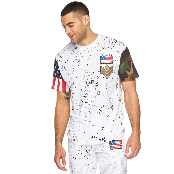 Style Meets Spirit White Paint Splatter Americana Tee - Citi Trends Mens - Front