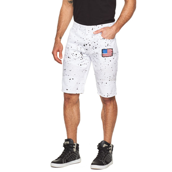 Style Meets Spirit White Paint Splatter Patched Moto Short - Citi Trends Mens - Front