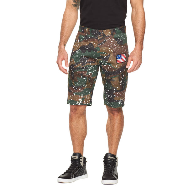 Style Meets Spirit Camouflage Paint Splatter Patched Moto Short - Citi Trends Mens - Front