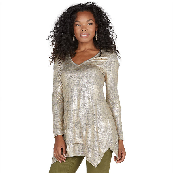 Shine Bright Metallic Gold Shark Bite Hem Tunic - Citi Trends Ladies - Front