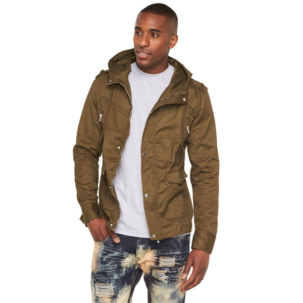 In Your Element Olive Fishtail-Hem Hooded Anorak Jacket - Citi Trends Mens - Front