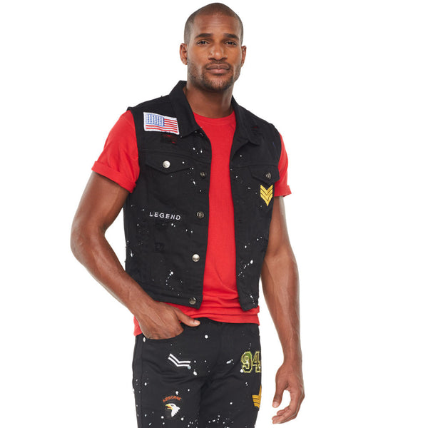 Black Distressed Paint Splatter Denim Vest With Patches - Citi Trends Mens - Crop Front