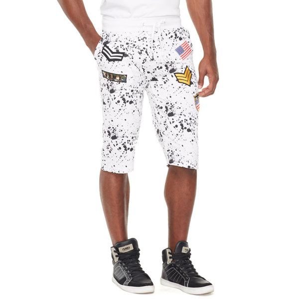 White French Terry Paint Splatter Short With Patches - Citi Trends Mens - Crop Front