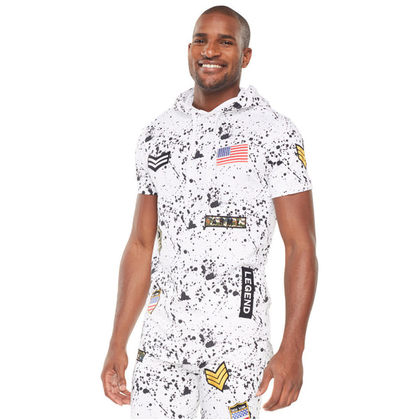 White French Terry Paint Splatter Hoodie With Patches - Citi Trends Mens - Crop Front