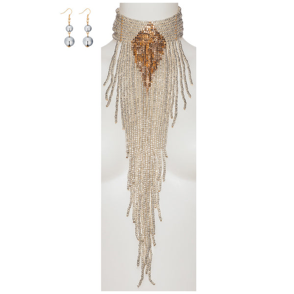 Beads Of Glory Silver Fringe Necklace And Earring Set - Citi Trends Accessories - Front