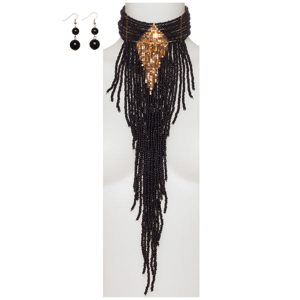 Beads Of Glory Black Fringe Necklace And Earring Set - Citi Trends Accessories - Front