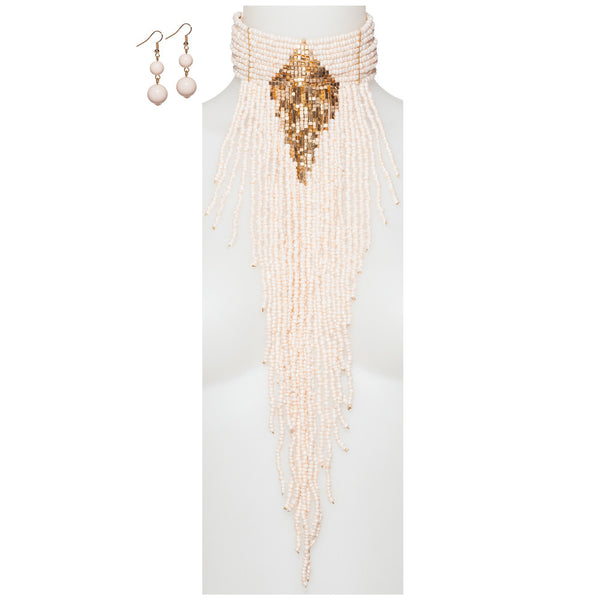 Beads Of Glory Ivory Fringe Necklace And Earring Set - Citi Trends Accessories - Front