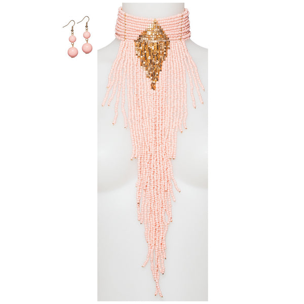 Beads Of Glory Pink Fringe Necklace And Earring Set - Citi Trends Accessories - Front