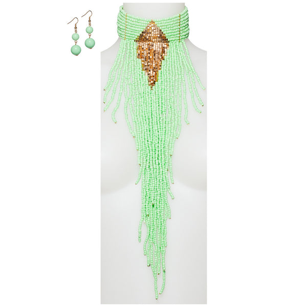 Beads Of Glory Mint Fringe Necklace And Earring Set - Citi Trends Accessories - Front