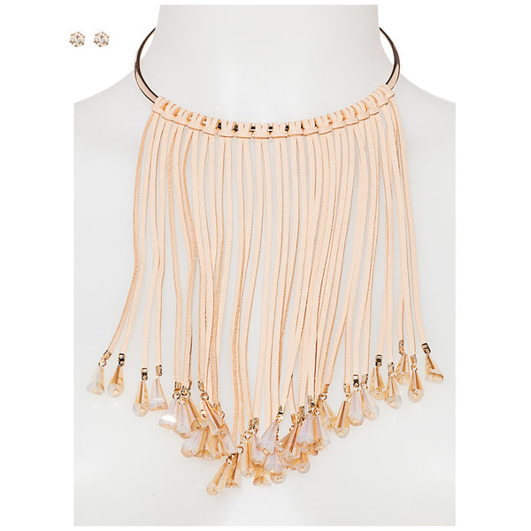 Sparkling Statement Khaki Faux Suede Fringe Necklace And Earring Set - Citi Trends Accessories - Front