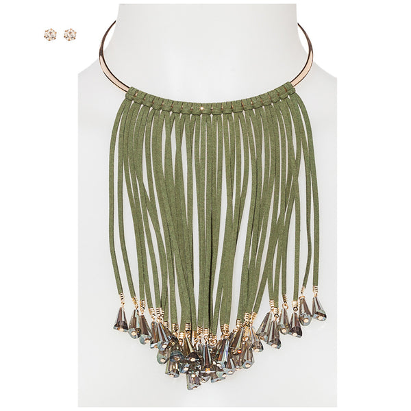 Sparkling Statement Olive Faux Suede Fringe Necklace And Earring Set - Citi Trends Accessories - Front