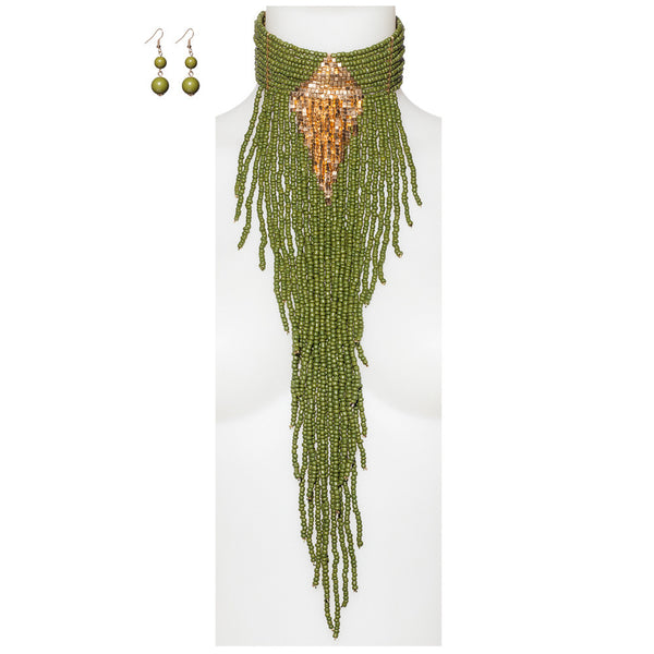 Beads Of Glory Olive Fringe Necklace And Earring Set - Citi Trends Accessories - Front