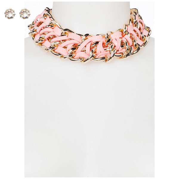 Chic Mystique Blush/Gold Chain Necklace And Earring Set - Citi Trends Accessories - Front