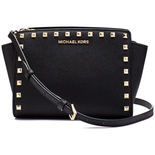 MICHAEL Michael Kors Black Medium Selma Studded Messenger Bag - Citi Trends Designer - Front