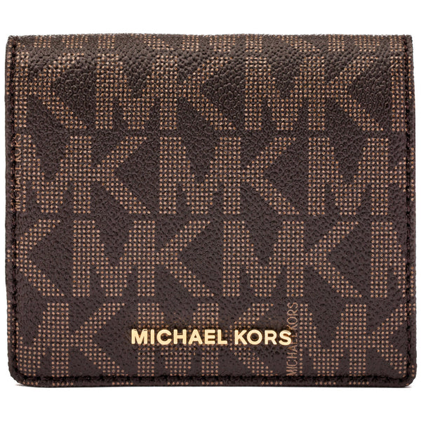 Michael Michael Kors Brown Jet Set Travel Logo Carryall Card Case - Cititrends Designer - Front