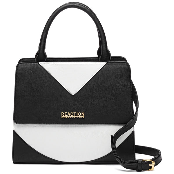 Kenneth Cole Reaction Black/White Right Angles Satchel - Citi Trends Designer - Front