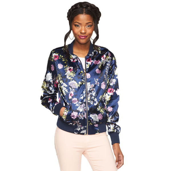 In Bloom Floral Satin Bomber - Citi Trends Plus and Juniors - Front