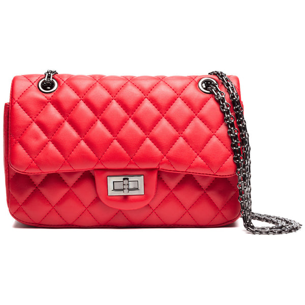 On The Grid Red Chain-Strap Crossbody - Citi Trends Accessories - Front