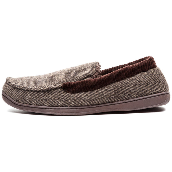 Cool To Be Cozy Brown Herringbone Moccasin Slipper