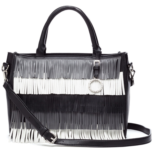 Catherine by Catherine Malandrino Black/White Elliot Fringe Satchel - Citi Trends Accessories - Front