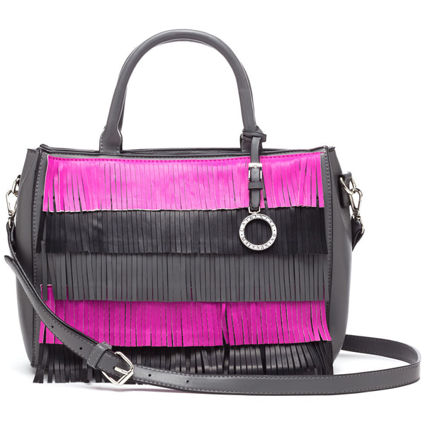 Catherine by Catherine Malandrino Charcoal/Fuschia Elliot Fringe Satchel - Citi Trends Accessories - Front