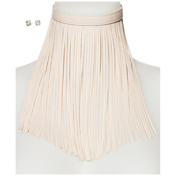 Major Drama Cream Faux Leather Fringe Choker And Earring Set - Citi Trends Accessories - Front
