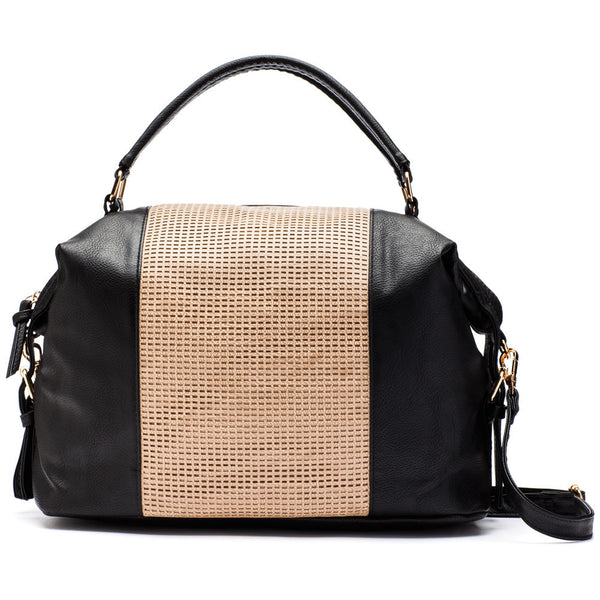 Keep Your Cool Camel/Black Perforated Satchel - Citi Trends Accessories - Front