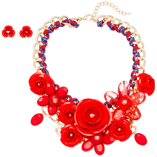 Petal Party Red Rose Necklace And Earring Set - Citi Trends Accessories - Front