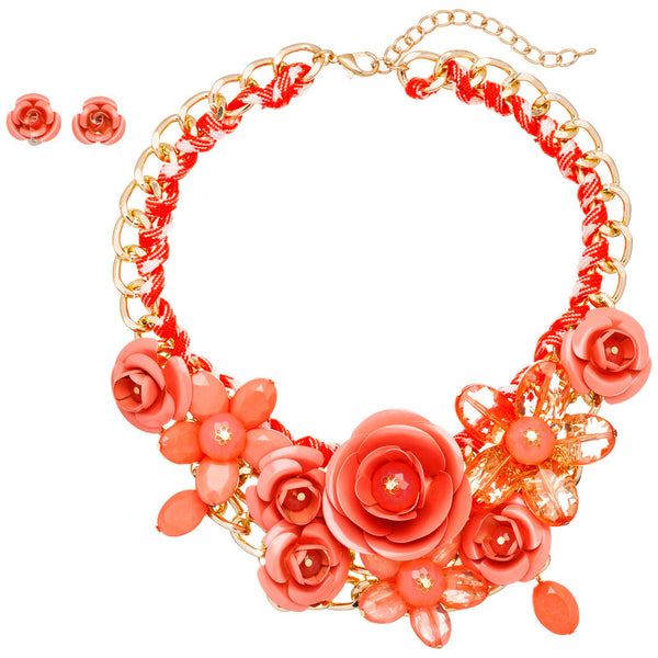 Petal Party Coral Rose Necklace And Earring Set - Citi Trends Accessories - Front