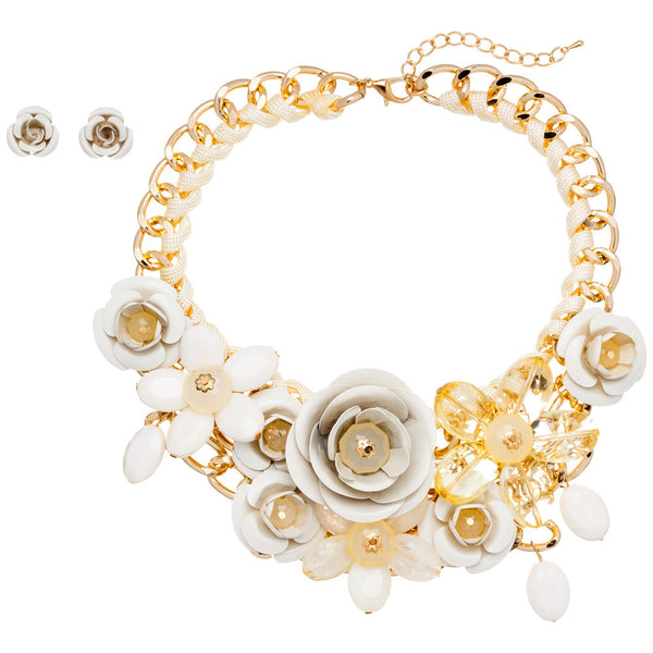 Petal Party Ivory Rose Necklace And Earring Set - Citi Trends Accessories - Front