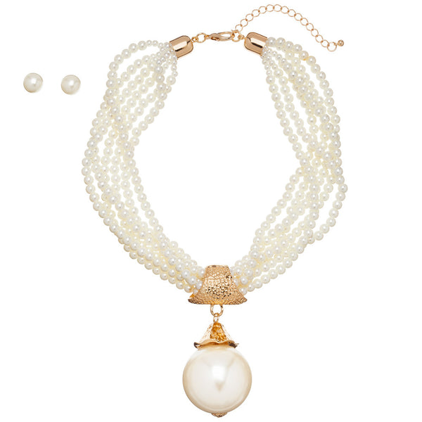 Pearls Of Wisdom Cream Layered Necklace Set - Citi Trends Accessories - Front