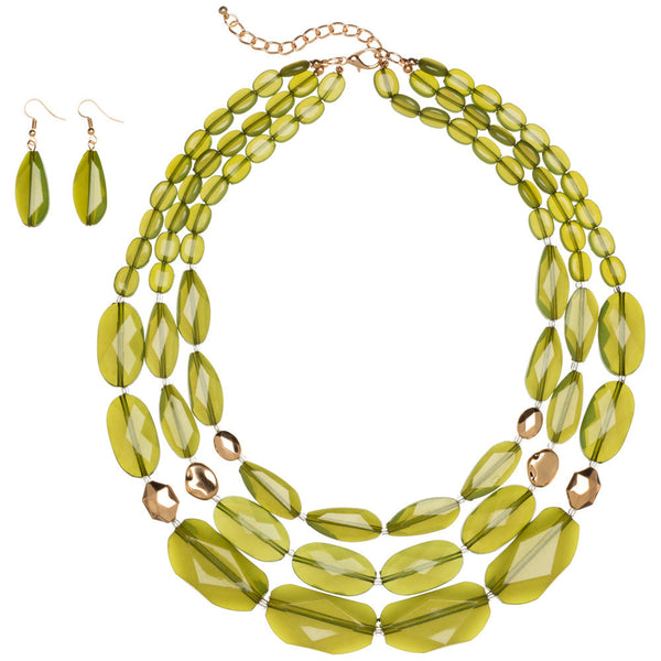 Just Bead It Olive Layered Necklace And Earring Set - Citi Trends Accessories - Front