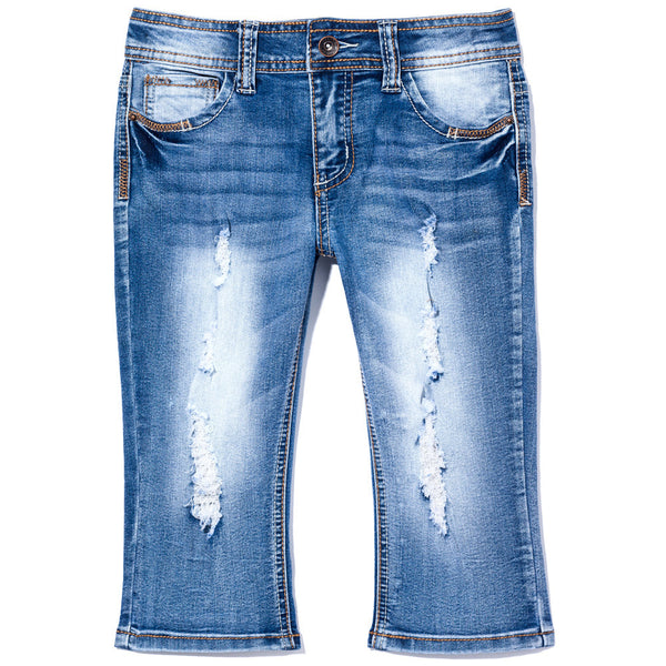 Living The Jean Girls High-Waist Distressed Capri - Citi Trends Girls - Front