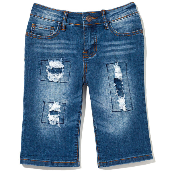 Perfectly Patched Girls Dark Blue Bermuda Short - Citi Trends Girls - Front