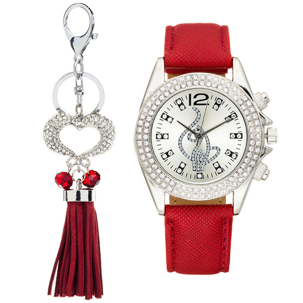 Shine On Time Baby Phat Burgundy/Silver Watch And Keychain Set - Citi Trends Accessories - Front