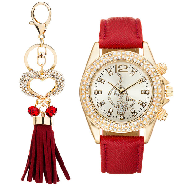 Shine On Time Baby Phat Burgundy/Gold Watch And Keychain Set - Citi Trends Accessories - Front