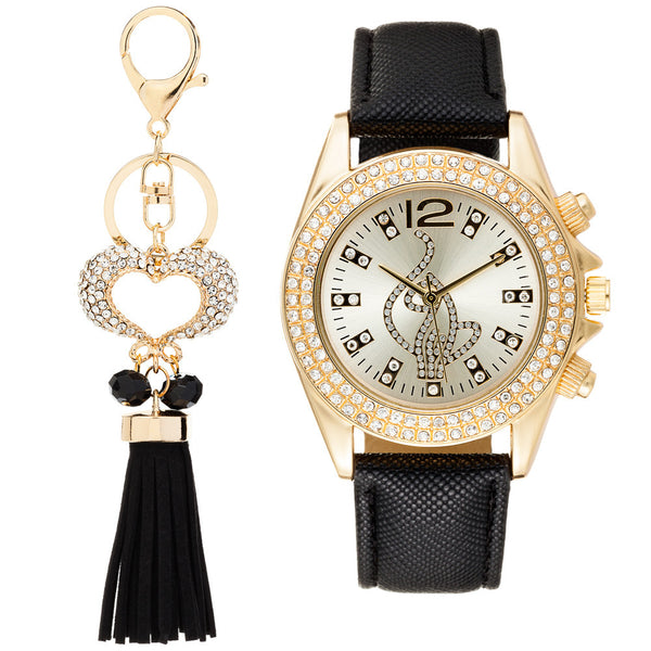 Shine On Time Baby Phat Black/Gold Watch And Keychain Set - Citi Trends Accessories - Front