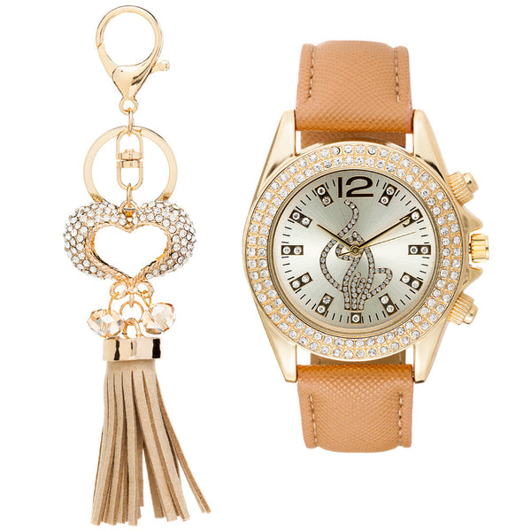 Shine On Time Baby Phat Tan/Gold Watch And Keychain Set - Citi Trends Accessories - Front