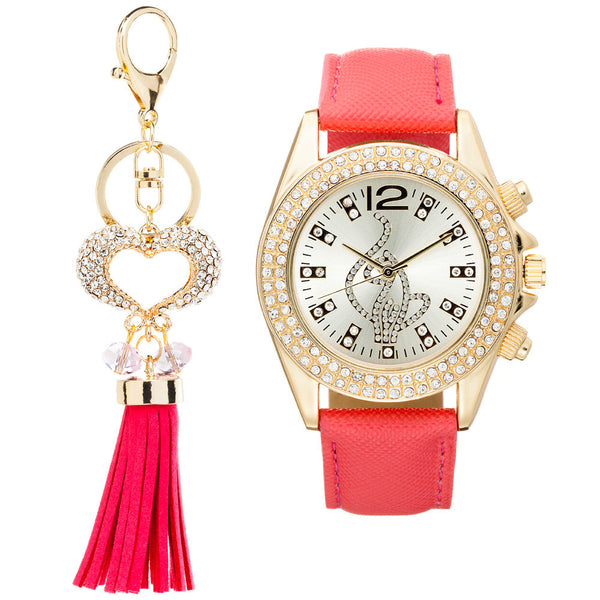 Shine On Time Baby Phat Pink/Gold Watch And Keychain Set - Citi Trends Accessories - Front