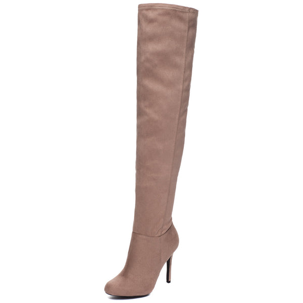 Walk The Walk Taupe Over-The-Knee Boot - Citi Trends Shoes - Front